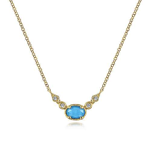 14K Yellow Gold Oval Rock Crystal and Turquoise and Diamond Accent Pendant Necklace