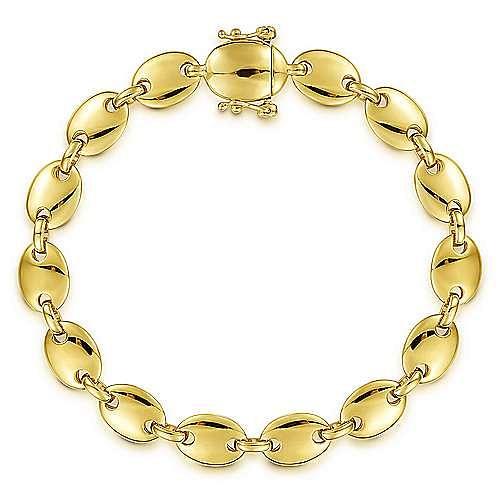 14K Yellow Gold Oval Station Tennis Bracelet