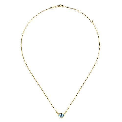 14K Yellow Gold Oval Swiss Blue Topaz Pendant Necklace with Diamond Accents