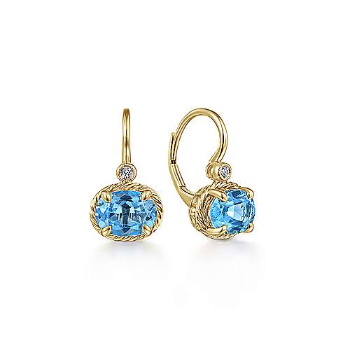 14K Yellow Gold Oval Swiss Blue Topaz and Diamond Drop Earrings