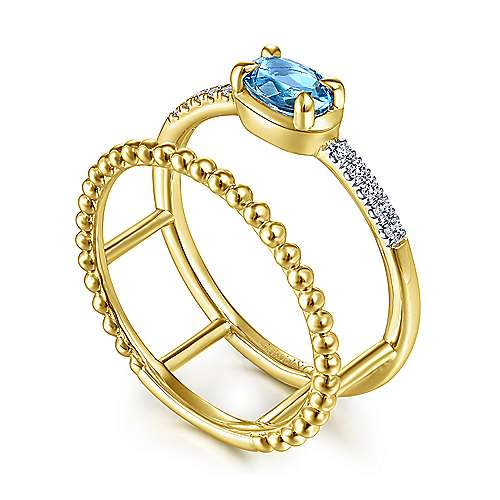 14K Yellow Gold Oval Swiss Blue Topaz and Diamond Split Shank Ring