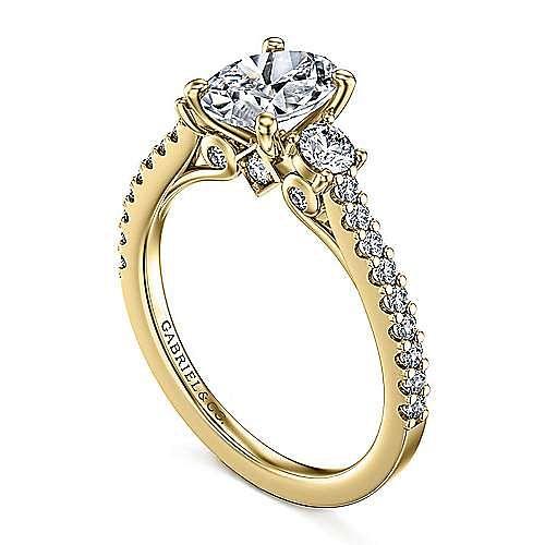 14K Yellow Gold Oval Three Stone Diamond Engagement Ring