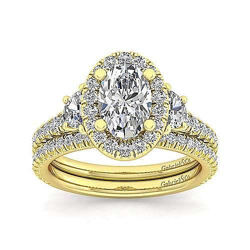 14K Yellow Gold Oval Three Stone Halo Diamond Engagement Ring