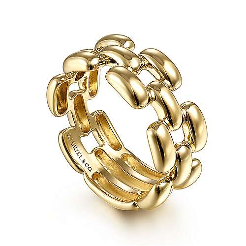14K Yellow Gold Panther Chain Ring