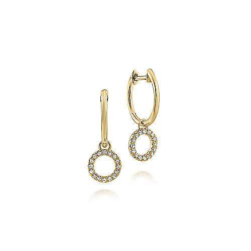 14K Yellow Gold Pavé 10mm Diamond Loop Huggie Drop Earrings