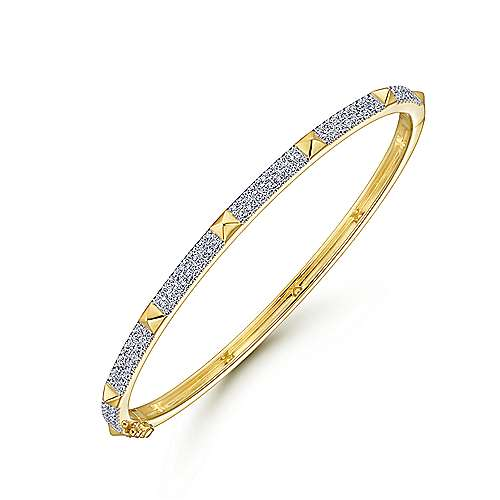 14K Yellow Gold Pavé Diamond Bangle with Pyramid Stations