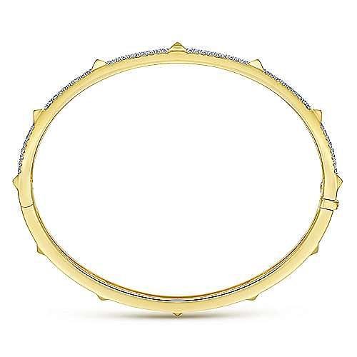 14K Yellow Gold/Pavé Diamond Bangle with Pyramid Stations
