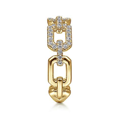 14K Yellow Gold Pavé Diamond Chain Link Ring Band