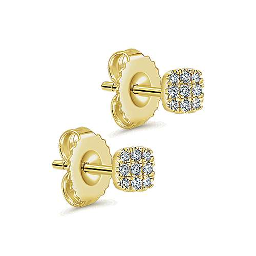 14K Yellow Gold Pavé Diamond Cushion Cut Stud Earrings