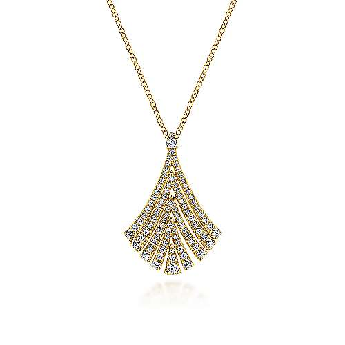 14K Yellow Gold Pavé Diamond Fan Pendant Necklace