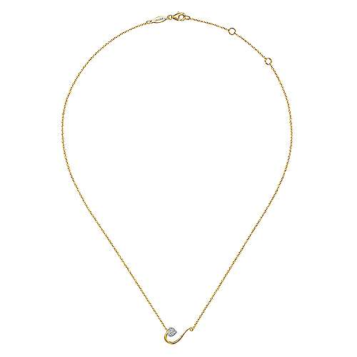14K Yellow Gold Pavé Diamond Heart Pendant Necklace