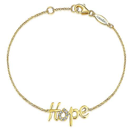 14K Yellow Gold Pavé Diamond Hope Bracelet