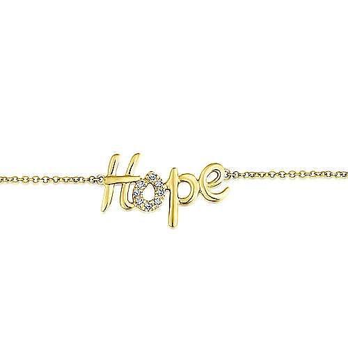14K Yellow Gold Pavé Diamond Hope Bracelet
