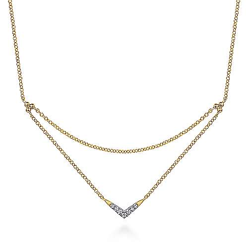 14K Yellow Gold Pavé Diamond Layered Chain V Necklace