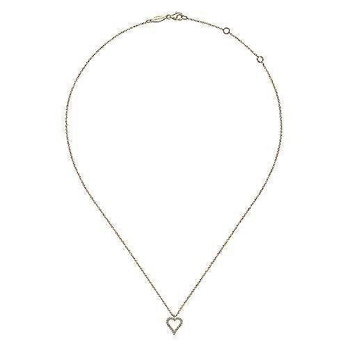 14K Yellow Gold Pavé Diamond Open Heart Necklace