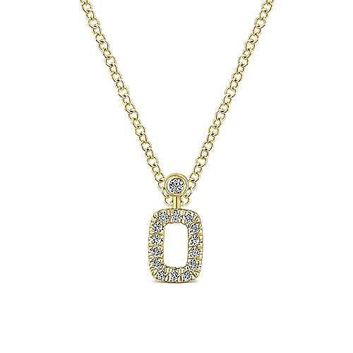 14K Yellow Gold Pavé Diamond Rectangle Pendant Necklace