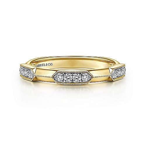14K Yellow Gold Pavé Diamond Station Ring