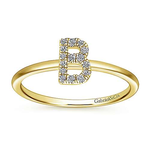 14K Yellow Gold Pavé Diamond Uppercase B Initial Ring