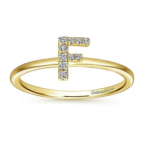 14K Yellow Gold Pavé Diamond Uppercase F Initial Ring
