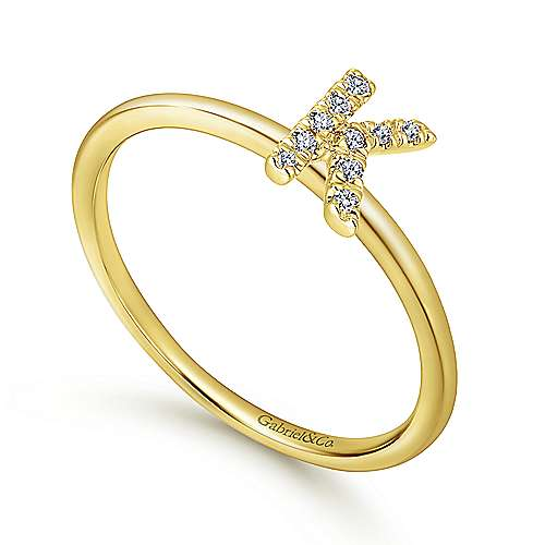 14K Yellow Gold Pavé Diamond Uppercase K Initial Ring