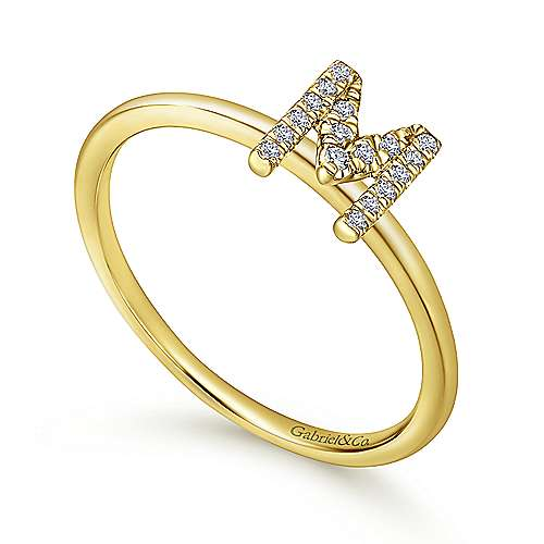 14K Yellow Gold Pavé Diamond Uppercase M Initial Ring