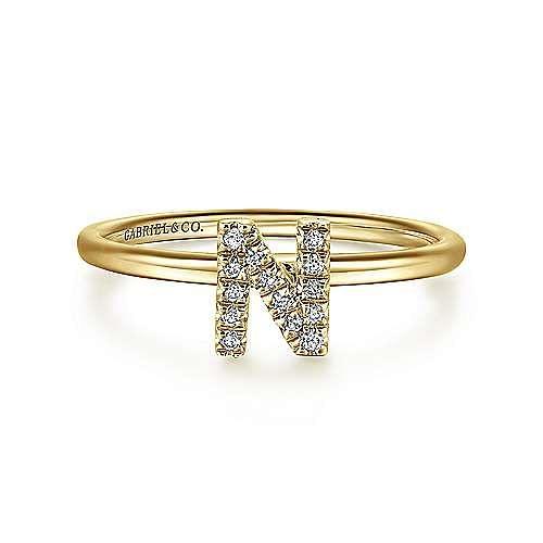 14K Yellow Gold Pavé Diamond Uppercase N Initial Ring