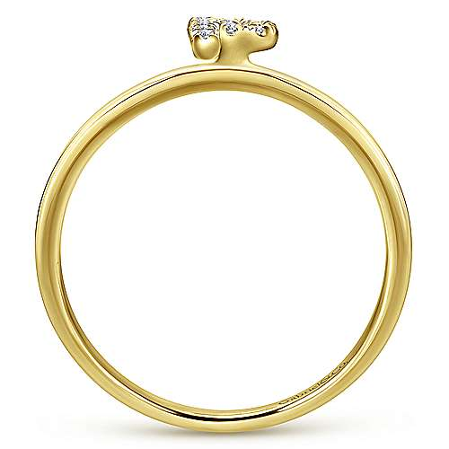 14K Yellow Gold Pavé Diamond Uppercase P Initial Ring