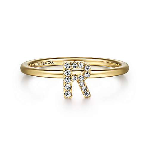 14K Yellow Gold Pavé Diamond Uppercase R Initial Ring