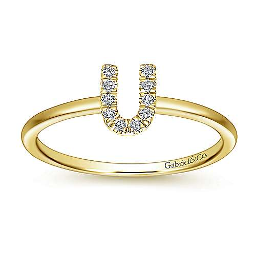 14K Yellow Gold Pavé Diamond Uppercase U Initial Ring