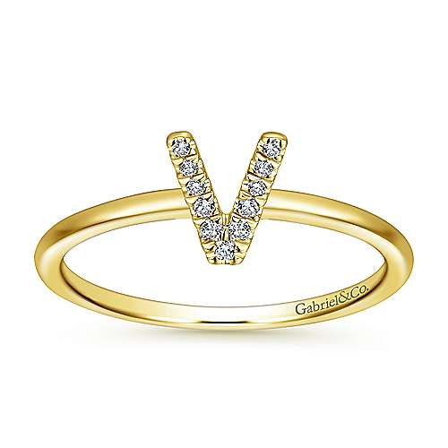 14K Yellow Gold Pavé Diamond Uppercase V Initial Ring