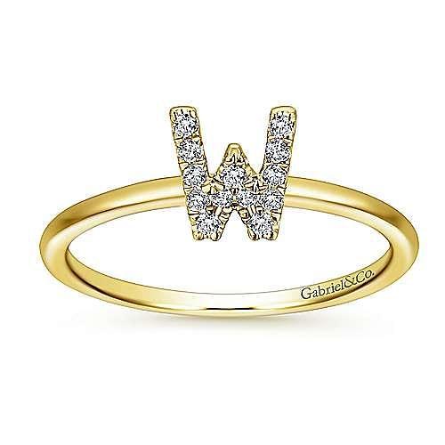 14K Yellow Gold Pavé Diamond Uppercase W Initial Ring