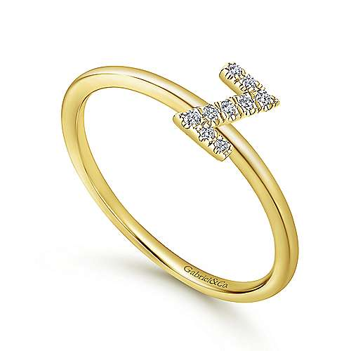 14K Yellow Gold Pavé Diamond Uppercase Z Initial Ring