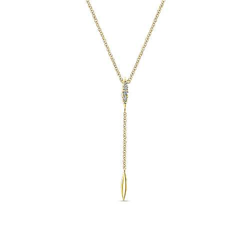 14K Yellow Gold Pavé Diamond Y Necklace