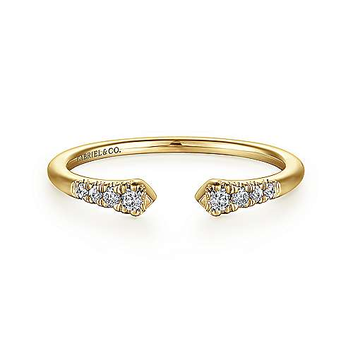 14K Yellow Gold Pave Diamond Open Stackable Ring