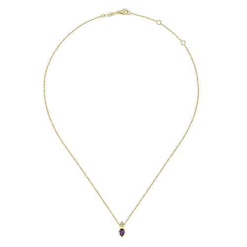 14K Yellow Gold Pear Shape Amethyst Pendant Necklace with Diamond Accents