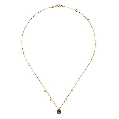 14K Yellow Gold Pear Shape Amethyst Pendant Necklace with Diamond Side Drops