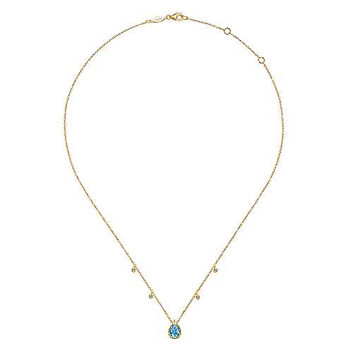 14K Yellow Gold Pear Shape Blue Topaz Pendant Necklace with Diamond Side Drops