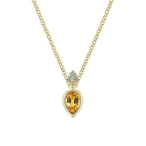14K Yellow Gold Pear Shape Citrine Pendant Necklace with Diamond Accents