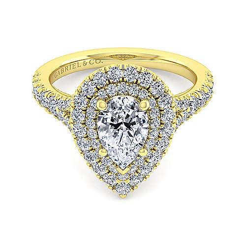 14K Yellow Gold Pear Shape Double Halo Diamond Engagement Ring