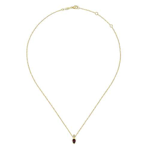 14K Yellow Gold Pear Shape Garnet Pendant Necklace with Diamond Accents