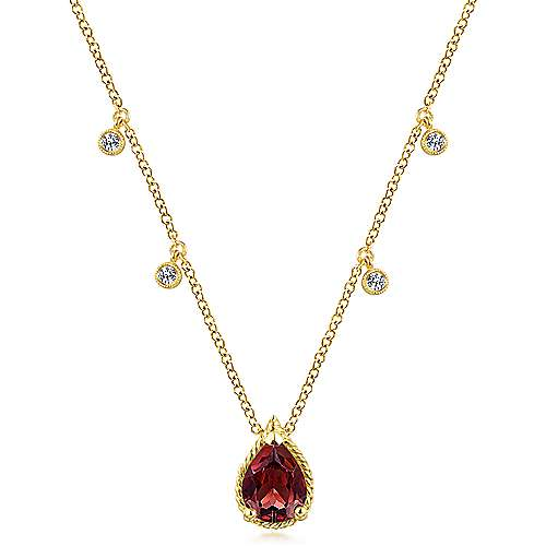 14K Yellow Gold Pear Shape Garnet Pendant Necklace with Diamond Side Drops