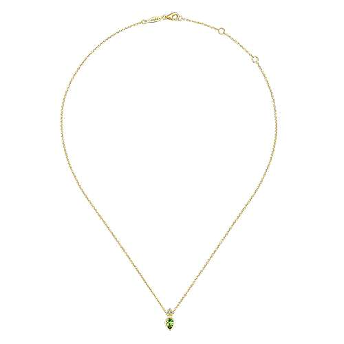 14K Yellow Gold Pear Shape Peridot Pendant Necklace with Diamond Accents