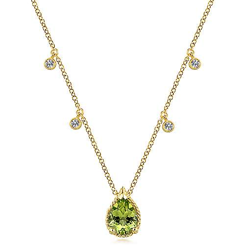 14K Yellow Gold Pear Shape Peridot Pendant Necklace with Diamond Side Drops