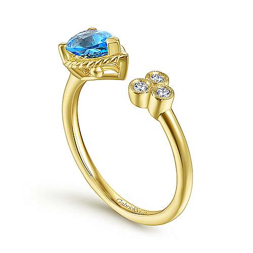 14K Yellow Gold Pear Shape Swiss Blue Topaz and Diamond Split Ring