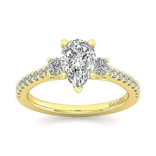 14K Yellow Gold Pear Shape Three Stone Diamond Engagement Ring