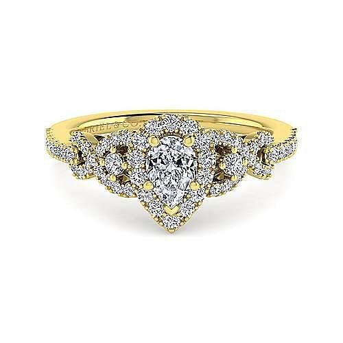 14K Yellow Gold Pear Shape Three Stone Halo Diamond Engagement Ring