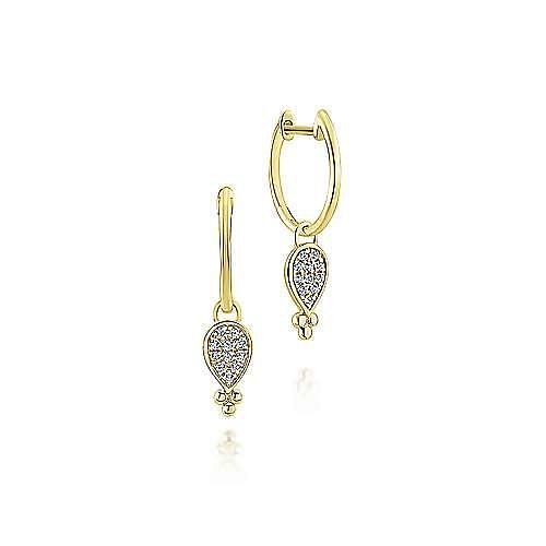 14K Yellow Gold Pear Shaped 10mm Diamond Cluster Huggie Drop Earrings