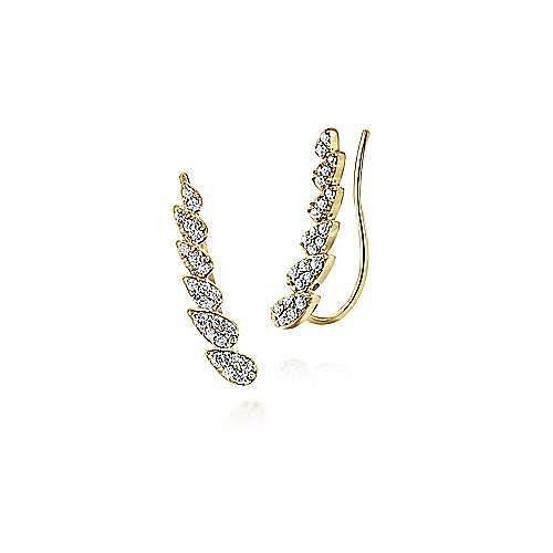 14K Yellow Gold Pear Shaped Diamond Column Ear Climber Earrings