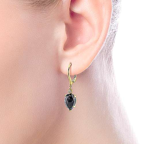 14K Yellow Gold Pear Shaped Onyx and Diamond Drop Earrings