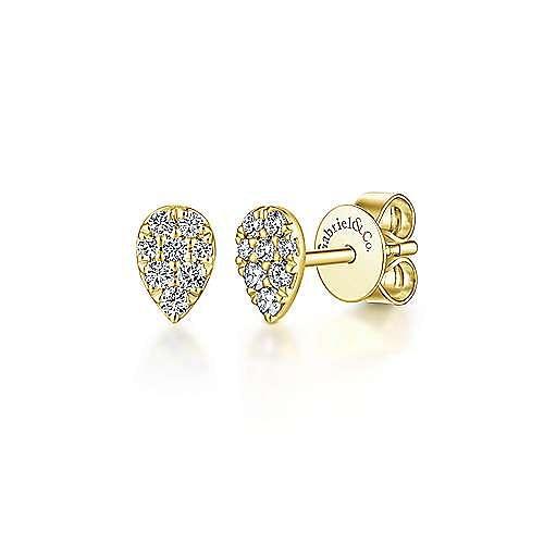 14K Yellow Gold Pear Shaped Pavé Diamond Stud Earrings